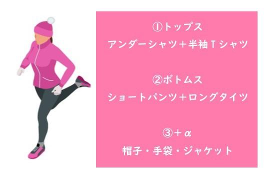 冬マラソンの女子の服装