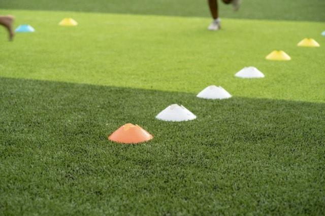 芝生の上にマーカーコーンが置かれている