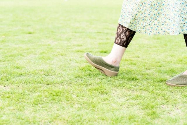 公園の芝生をウォーキングする人