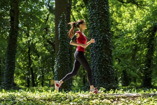 公園の林道を走る女性