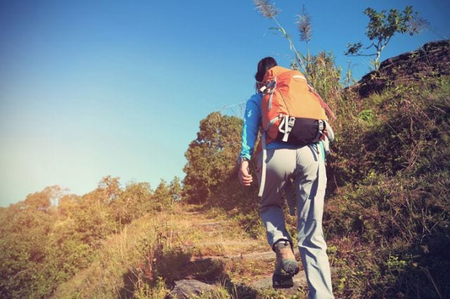 登山する人