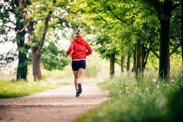 木陰のあるコースを走る人